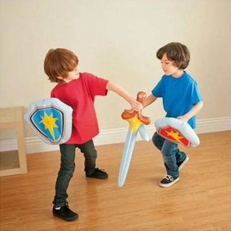 Costume Props Original Purim Performance Props Kids Ninja Weapon Sword Shield Inflatable Sets Not Wounding Children Toys Costume Accessory Props