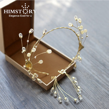 Himstory Handmade Clear Crystal and Beads Wedding Crown Bride Headbands Prom Headdress Bridal Hair Jewelry Accessoies