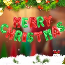 14PCS/lot Christmas party decorations supplies red green Merry letters aluminum balloon