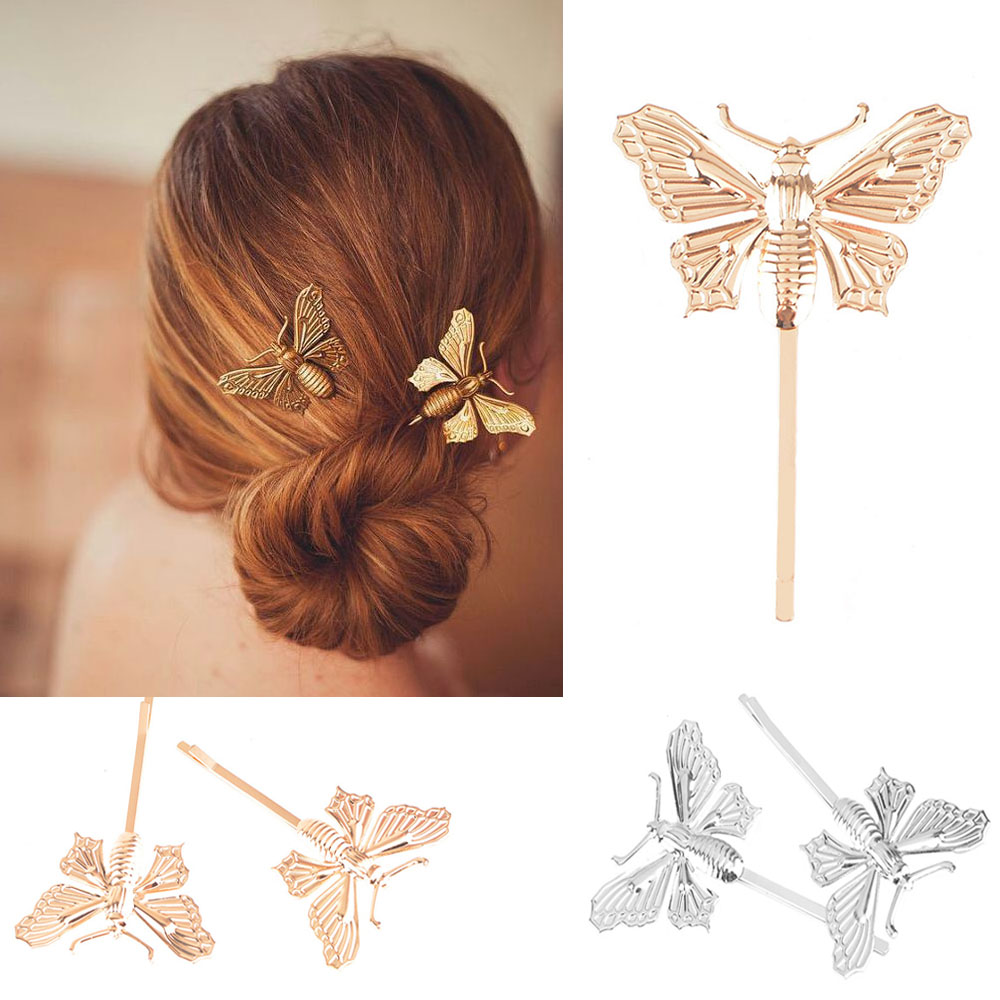 Butterfly hair accessories for weddings uk - 1pc Silver Gold Butterfly Leaf Hairpin Golden Wedding Uk Clip Boho Cute Elegant Hair Accessory
