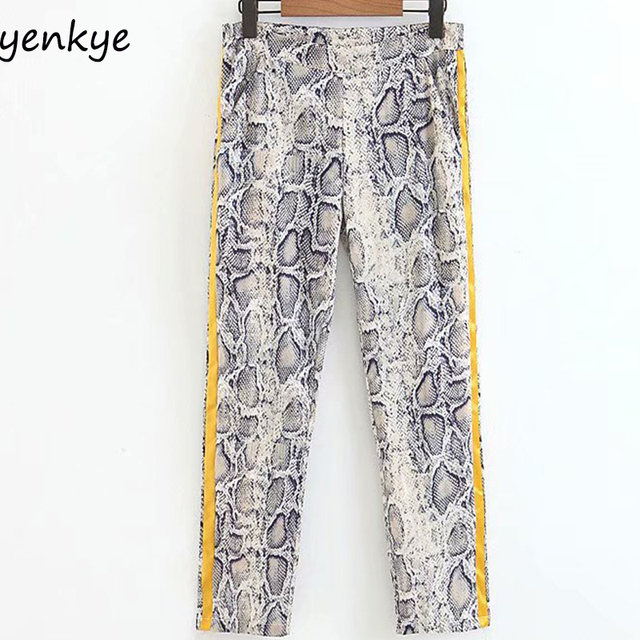 7a38f5853d European Style Women Side Striped Patchwork Snakeskin Printed Pants Female  High Waist Causal Trousers pantalon femme XZWM1756-in Pants & Capris from  ...