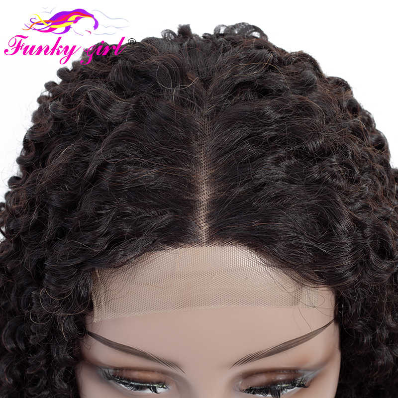 Funky Girl бразильские кудрявые 4X4 человеческие волосы на кружеве парики для черных женщин предварительно сорванные волосы remy парик с волосами младенца