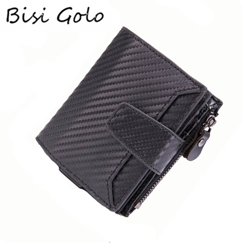 a0c59f11f BISI GORO hombres Metal tarjeta de crédito titular moda mujeres monedero alta  calidad PU cuero cartera viaje aluminio RFID bloqueo cartera