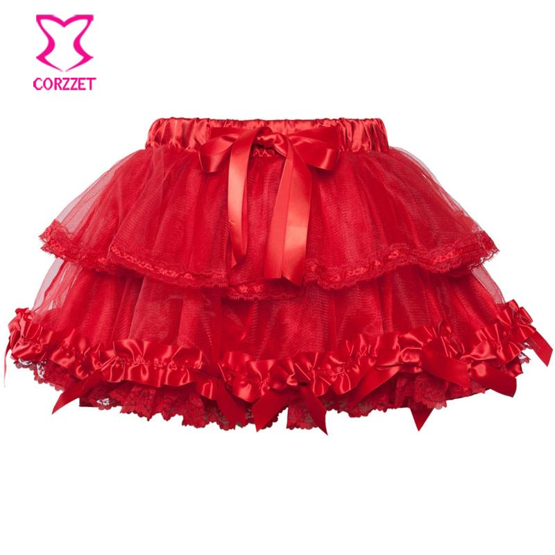 Corzzet Fashion 2017 Red Mesh Lace Skirt Women Pettiskirt Tutu Teenage Girl Adult Women Tutu Petticoat Dance Wear Party  Skirt