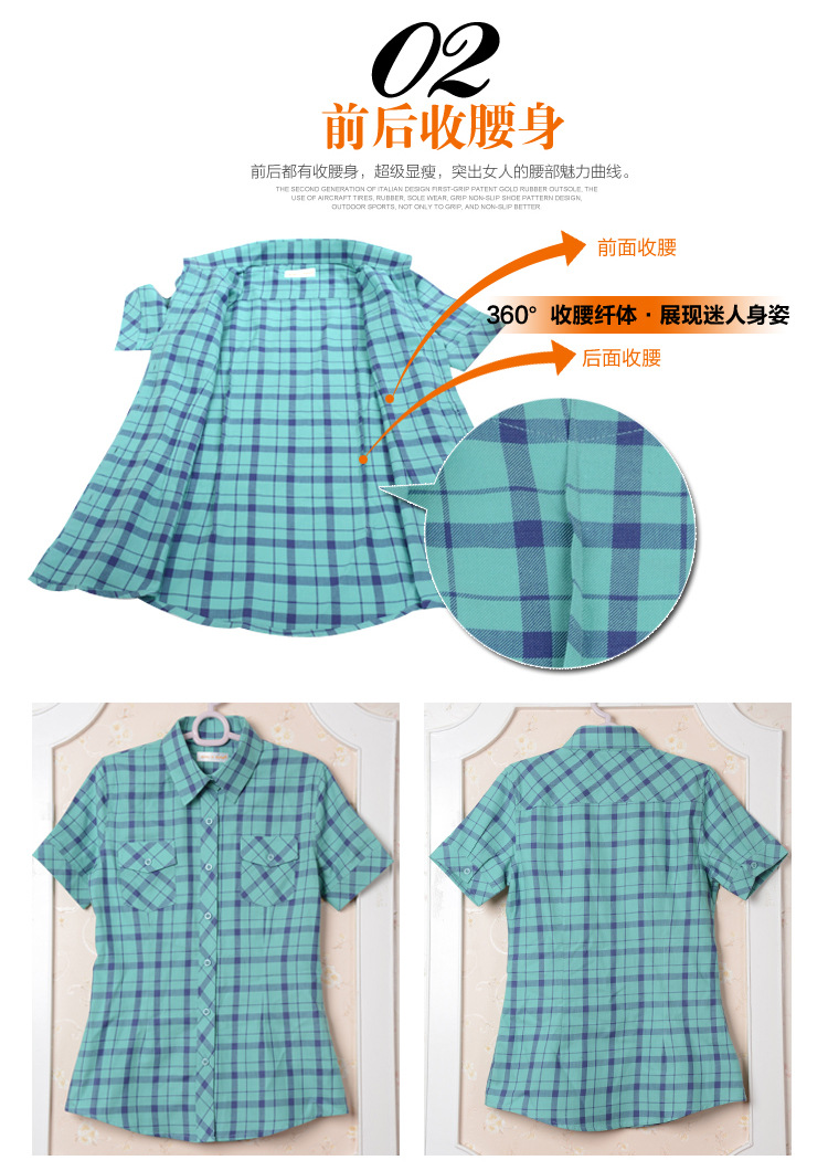 HTB1KsHAHFXXXXXtaXXXq6xXFXXX3 - New 2017 Summer Style Plaid Print Short Sleeve Shirts Women