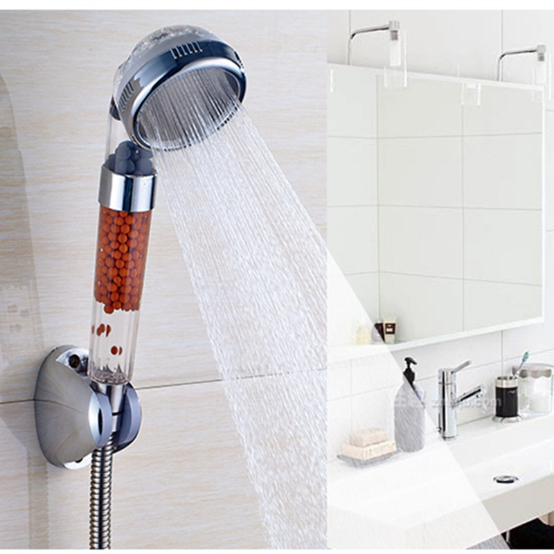 Anion Stone Water Purifile Water Saving plastic Hand Shower Bathroom Shower Head sunset stone pattern waterproof bathroom shower curtain
