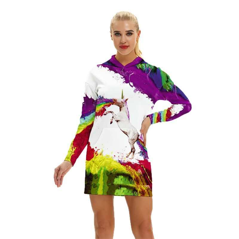 Единорог осень женские толстовки 3D геометрический Тотем принт граффити хип хоп Unicornio толстовки спортивный костюм уличная Прямая поставка