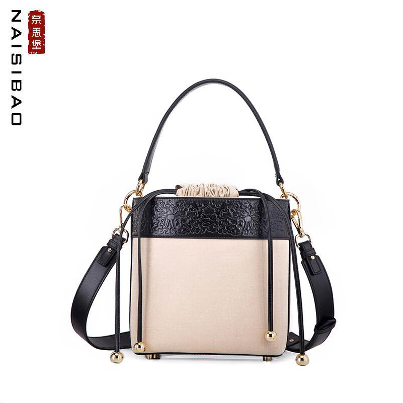 NAiSIBAO 2018 New top Cowhide women genuine Leather bag Cowhide with canvas bag Fashion bucket bag women leather shoulder bag
