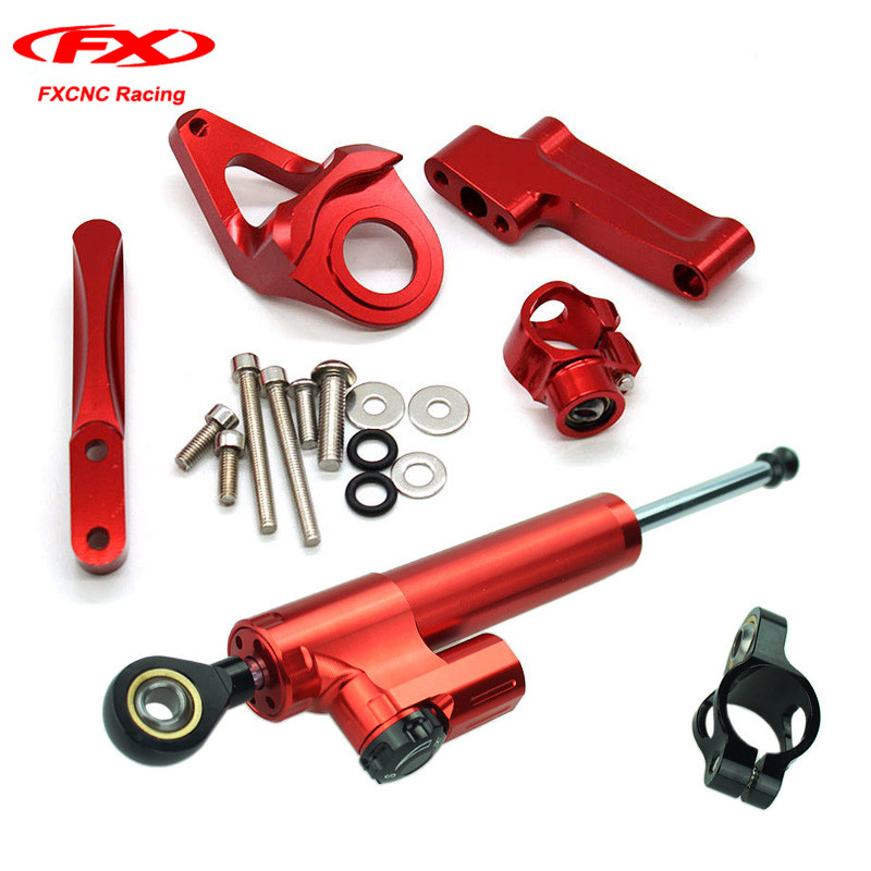 CNC Motorcycle Damper Steering Stabilizer Linear Reversed Safety Control + Brackets for SUZUKI GSXR 1300 1998-2016 Red|+Black universal motorcycle steering damper stabilizer linear reversed safety control
