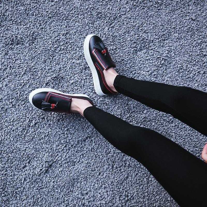 Gruesas 2018 Franjas Casuales Otoño vino Mujer Color Retro Negro Zapatos Sólido Tinto De Soles Cuero Moda Simple Casual Nueva BdRrw0qB