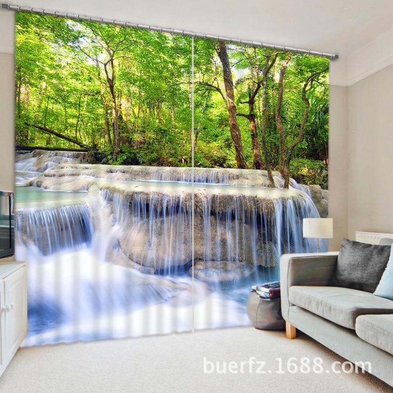 3D Photo Forest Fall Printing Zatemnění Okenní závěsy Pro Obývací pokoj Ložnice Hotel / Kancelář Závěsy Cortinas para