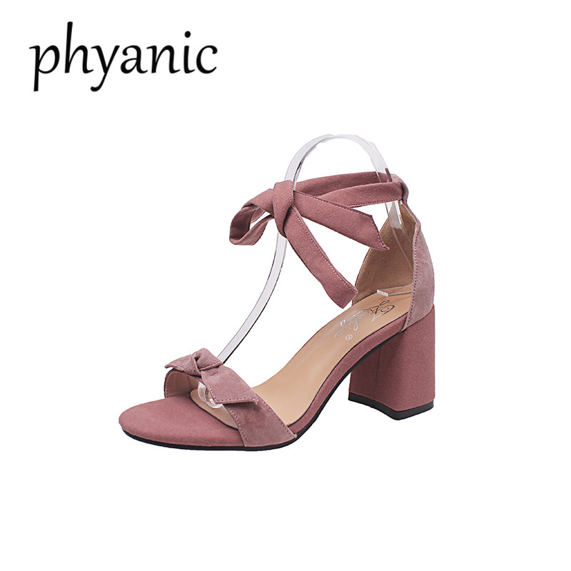 Phyanic 2018 Ankle Strap Square Heels Women Sandals Summer Shoes Female Open Toe Chunky High Heels Party Dress Sandals Lace-Up daidiesha 2018 ankle strap heels women sandals summer shoes women open toe chunky high heels party dress sandals big size 43