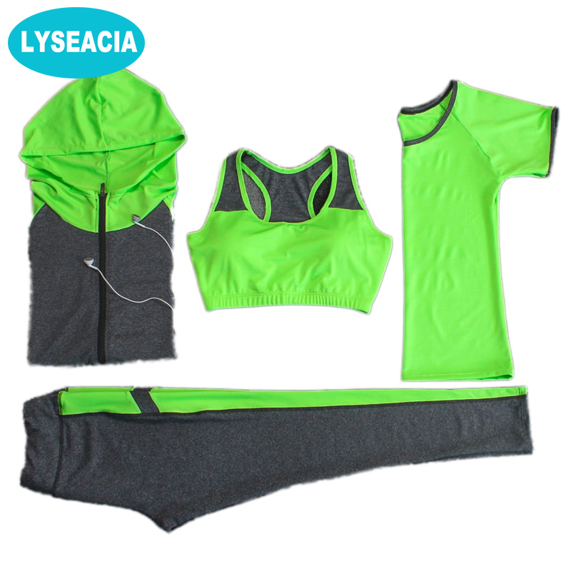 LYSEACIA Breathable Sport suit Women Fitness suit Yoga bra Long sleeeve Hoodies Running Yoga t shirt Sports Leggings Sportswear 2017 women s yoga pants workout capri leggings running tights side pockets functional pattern patchwork sports leggings jnc2315