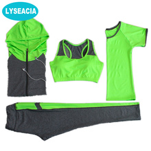 LYSEACIA Breathable Sport suit Women Fitness suit Yoga bra Long sleeeve Hoodies Running Yoga t shirt Sports Leggings Sportswear