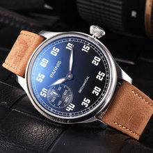 New 44mm parnis Black Dial SS Case Luminous marks 2019 Romantic Valentines gifts 17 jewels 6497 Hands Wind Movement mens Watch