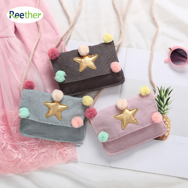 Reether Children's Star Ball Bag Girls Messenger Bags Diagonal Purse Kid Cash Pouch Cute Package Decoration Gifts