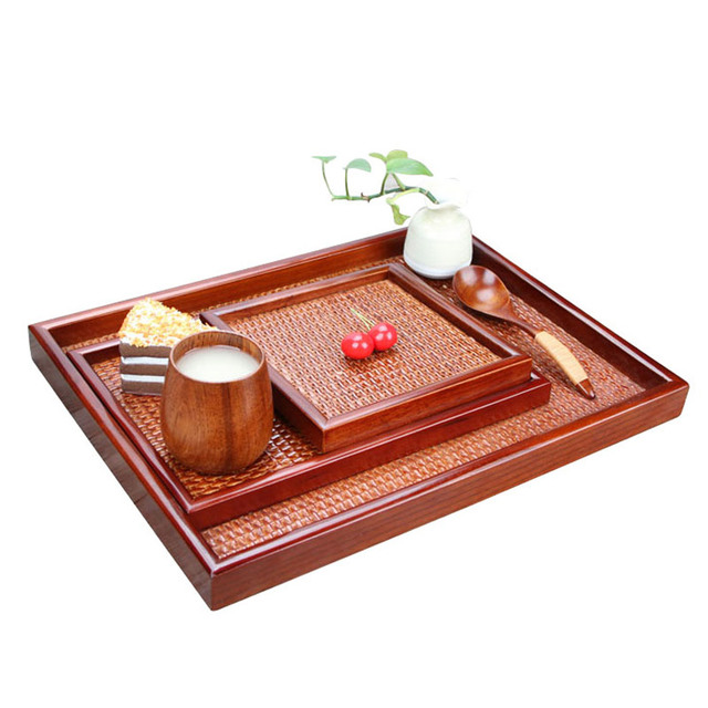 Handarbeit Rattan Holz Teetablett Kung Fu Tee Tablett Rechteckige