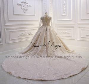 Image 5 - Amanda Design DE BODA transparente brillante con cuentas de cristal de lujo de manga larga y cuello alto