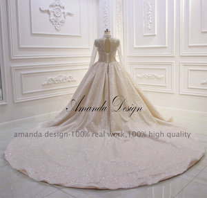 Image 5 - Amanda Design High Neck Long Sleeve Luxury Crystal Beading Shiny See Through Wedding Dress