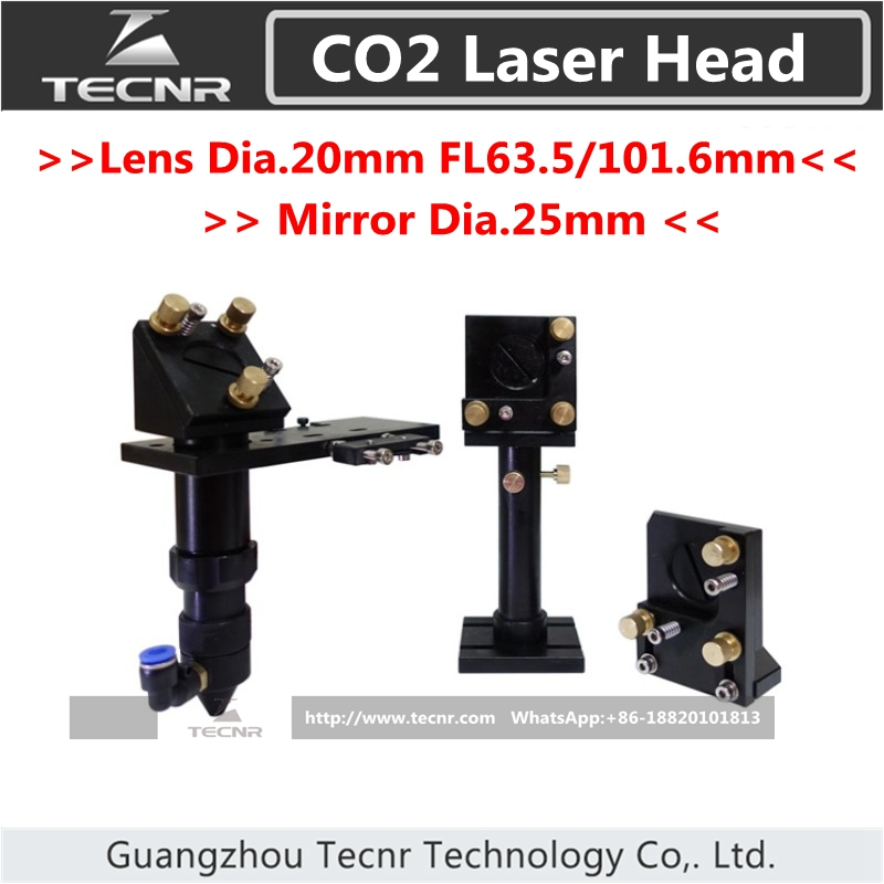 CO2 laser head set  integrative focus lens diameter 20mm FL 63.5MM and 25MM Dia laser mirror mount