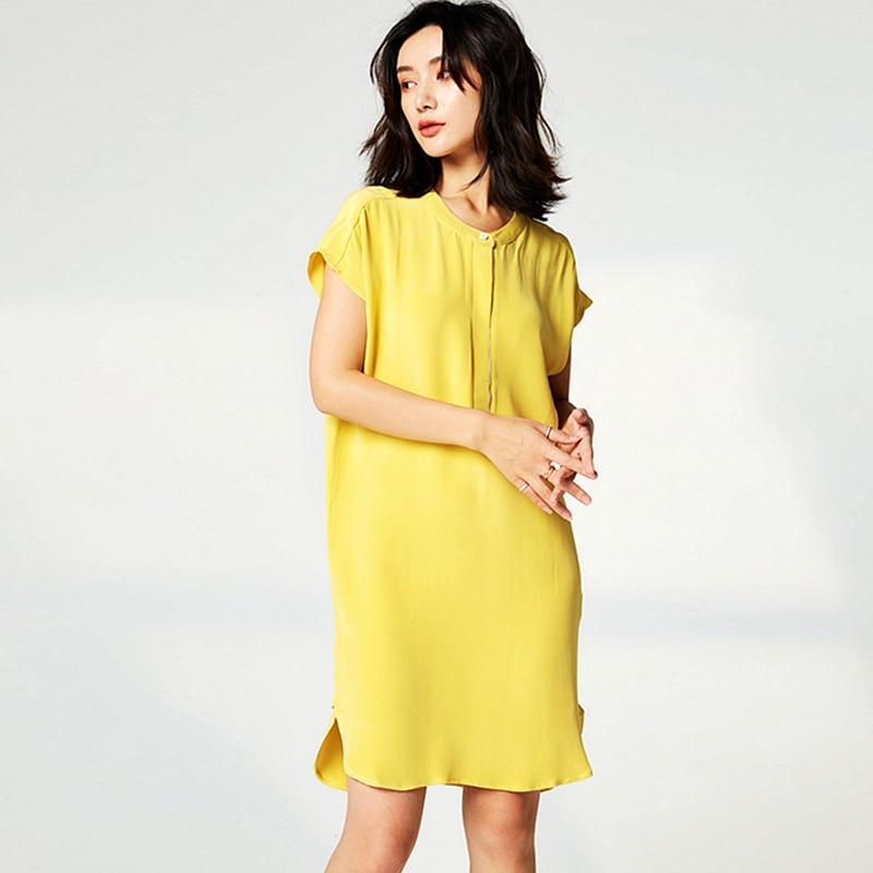 Haute qualité robe femmes 100% lourde soie Simple Design O cou goutte épaule chauve souris manches droite lâche robe nouvelle mode 2019-in Robes from Mode Femme et Accessoires    1