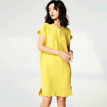 High Quality Dress Women 100% Heavy Silk Simple Design O Neck Drop-shoulder Batwing Sleeve Straight Loose Dress New Fashion 2019 - DISCOUNT ITEM  45% OFF All Category
