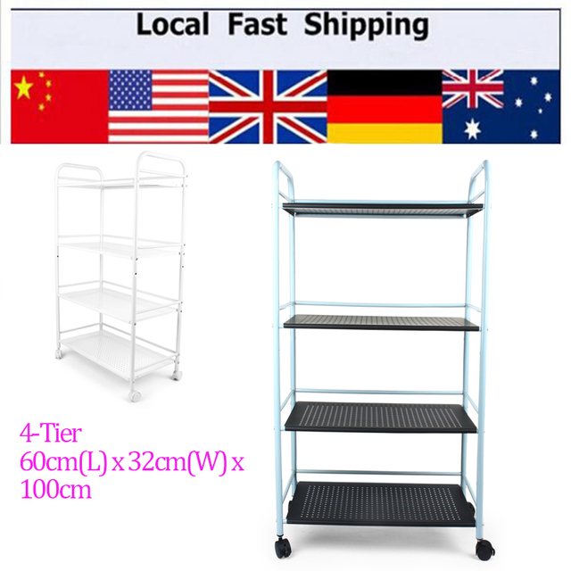 Langria 4 Tier Metal Rolling Cart Multifunctional Toy Storage Shelving Rack  For Vegetable Kitchen Bathroom