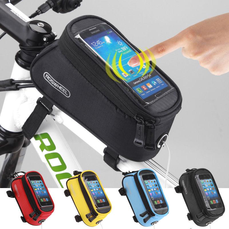 12DE Handlebar Bag Touchscreen Phone Storage Bag Outdoor Bicycle Front Portable