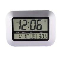 Wekkers Temperatuur Display Zilver Bureau Slaapkamer Keuken Tafel Digitale Grote Wandklok Ondersteuning 4 Talen