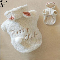 Fashion Pet Costume Small Dog Clothes Coat White Sheep Puppy Hoodie Chihuahua Clothing In Winter Warm Apparel XS S M L XL 116