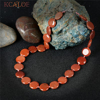 KCALOE High Quality Gold Sand Stone Necklace Vintage Retro Round Handmade Accessories Chokers Necklaces For Women