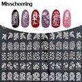 Plata 3d Nail Art Stickers Decals, 108 unids/hoja Metálica Accesorio de Flores Mezclar Diseños de Uñas de Manicura, Uñas Herramienta de Decoración consejos