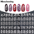 Silver 3d Nail Art Stickers Decals,108pcs/sheet Metallic Flowers Mix Designs Manicure Nail Accessory,Nail Tips Decoration Tool