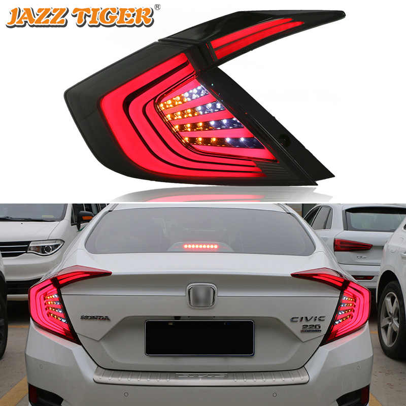 Rear Fog Lamp + Brake Light + Reverse Light + Turn Signal Light Car LED Tail Light Taillight For Honda Civic 2016 2017 2018