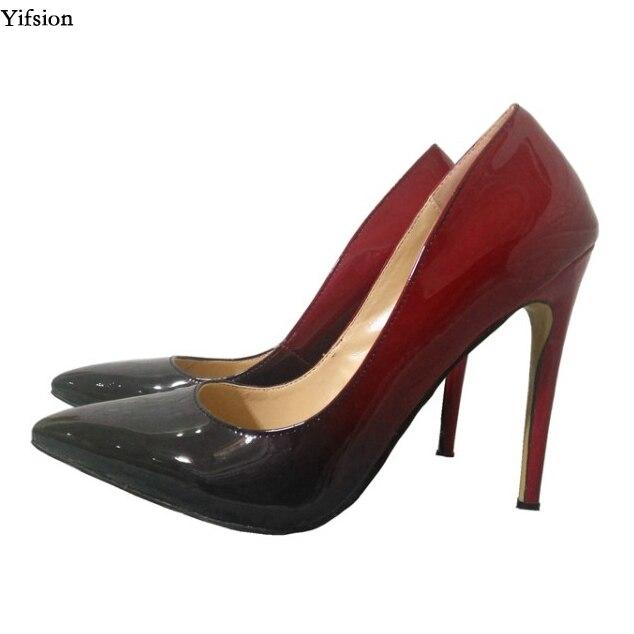 Nueva Brillantes Tacón Rojo Sexy Mujer Moda Stiletto De 5 Estrecha Zapatos Vino Uu Alto Ee Red Punta Fiesta Wine D0612 Tamaño Mujeres Más 15 Yifsion dO04wnzd
