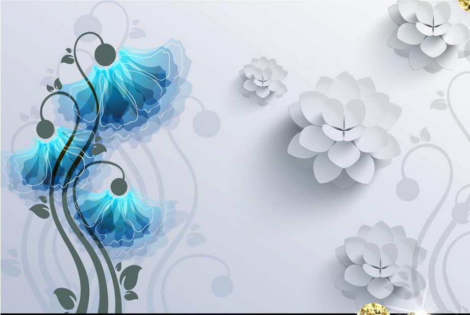 customize 3d wall papers home decor living room Butterfly flower 3d wall murals 3d stereoscopic murals wallpaper