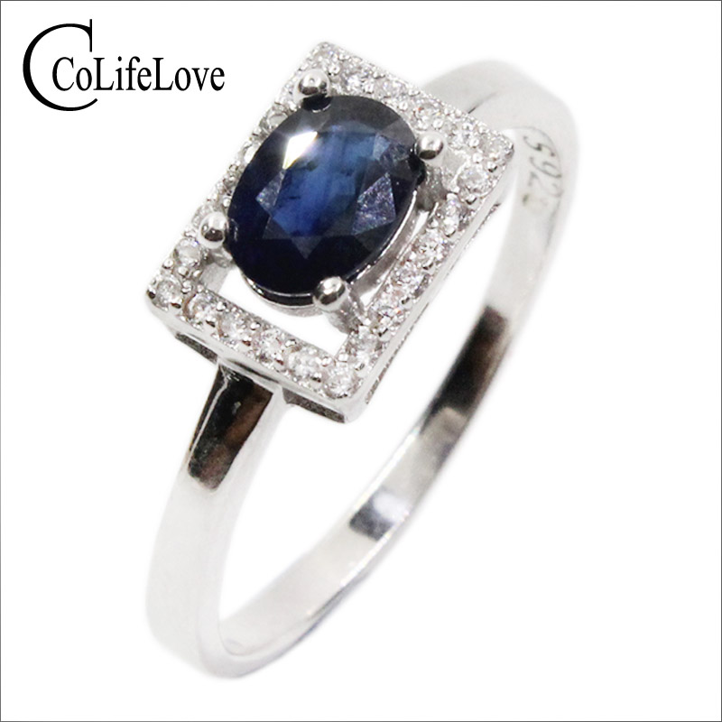 Stylish sapphire ring 5 mm * 7 mm natural dark blue sapphire silver ring solid 925 sterling ring for woman's new fashion jewelry 1b