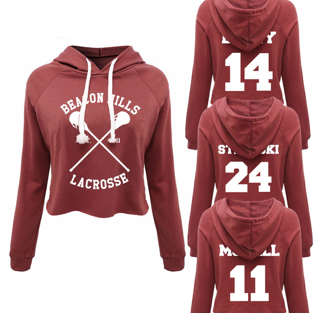 BEACON HILLS LACROSSE STILES STILINSKI 24 Mccall 11 TeenWolf Women Crop top Pullover Long Sleeve O Neck Hoodies Sweatshirt