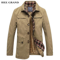 HEE GRAND Men S Long Stretch Fashion Coat Comfortable Material Turn Down Collar New Arrival Late
