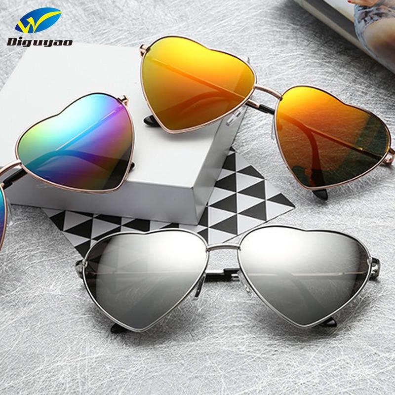 DIGUYAO Women Metal Multicolour Metal Frame Sunglasses Brand Designer Coating Fashion Sun Glasses Heart Shaped Sunglasses