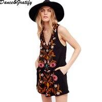 2018 new hot national embroidery mini dress V neck off shoulder sexy dress black classic dresses boho style tank summer dress