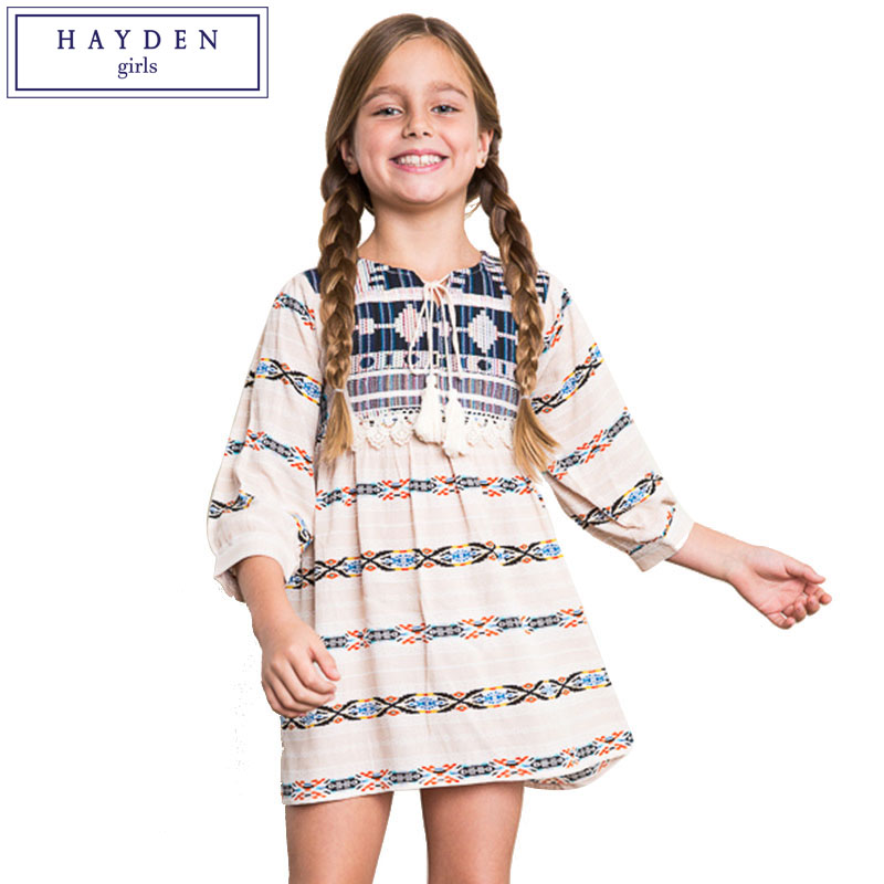 HAYDEN Girls Boho Dress Ethnic Kids Bohemian Chic Clothing 2017 Summer Casual Teenager Clothes Size 7 To 14 Years Girl Dresses In From Mother