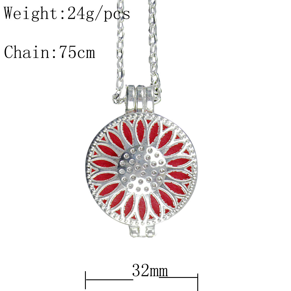 Hiroshi Mori Sunflower Aromatherapy Necklace Silver  Alloy  Vintage Style Locket Essential Oil Diffuser Necklace Jewelry locket