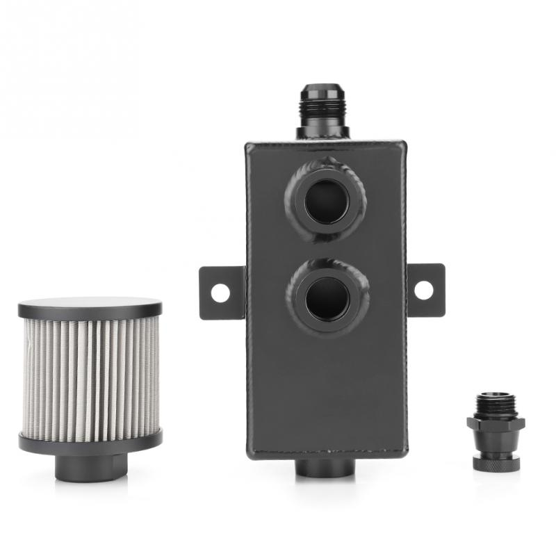 Universel 1L réservoir d'huile de voiture peut réservoir avec filtre de reniflard vidange en aluminium noir pièces automobiles accessoires de voiture