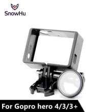 SnowHu Protective Camera Clear Glass UV +Standard Frame  for Gopro Hero 4 3+ Case Protector Mount LD01
