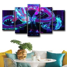 5 Pieces Painting Canvas Printed Pictures League of Legends KDA Akali Home Decor For Living Room Poster Game Wall Art Framework