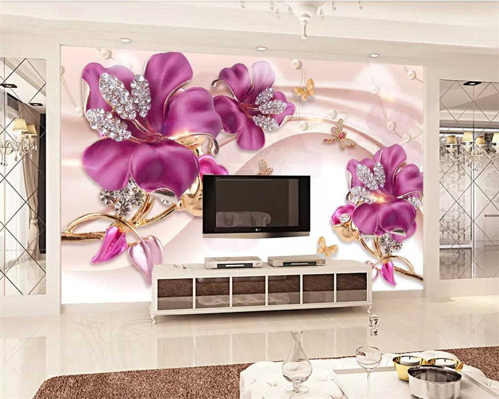 Beibehang European Pink Orchid Mural Wallpaper Home Decoration Stereo Tv Background Walls Living Room Bedroom Mural 3d Wallpaper
