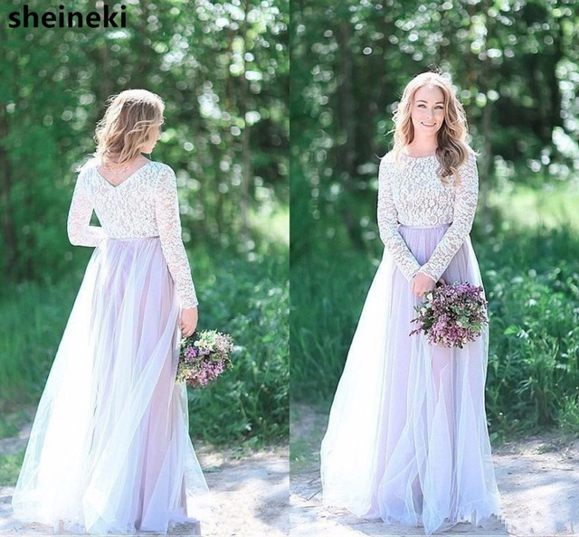 Arabic Vintage Lilac Top Lace Tulle Floor Length Bridesmaid Dress Long  Sleeves Plus Size Maid of Honor Gowns Wedding Dress d6ba778f5b13