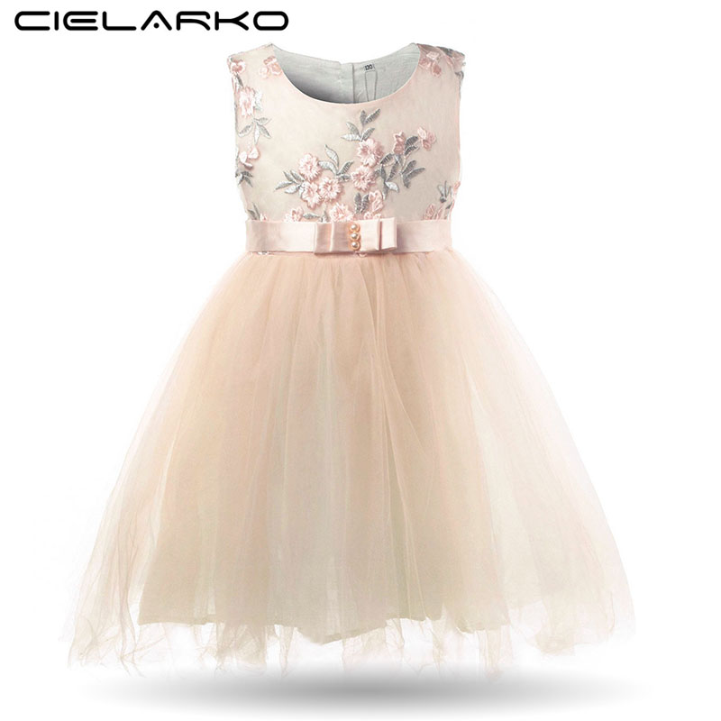 Cielarko Girls Flower Dresses Princess Summer Dress for Kids Elegant Tulle Children Frock Bow Blue Girl Wedding Party Clothing