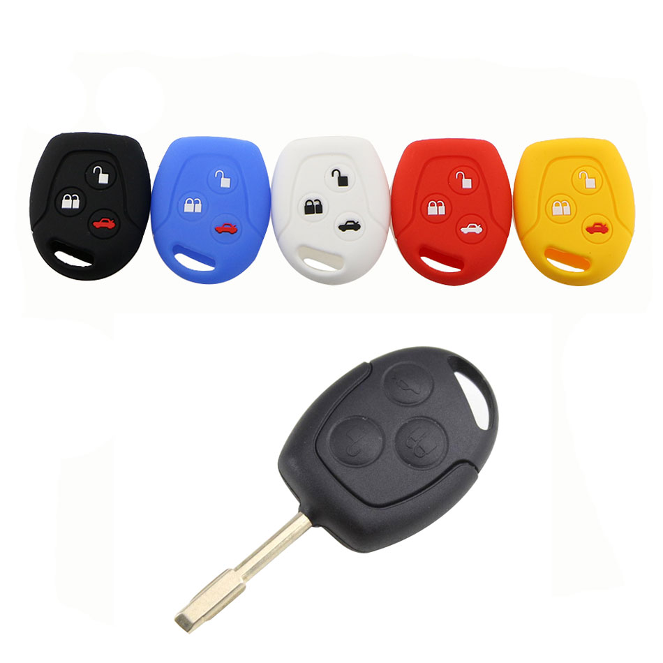 1 Piece Silicone Car Key Fob Case Cover Sticker Set Protector Bag Accessories Fit for Ford Mondeo Fiesta Focus C-Max KA GALAXY